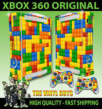 XBOX 360 OLD SHAPE TOY BRICK WALL BUILDING BLOCKS STICKER SKIN & 2 PAD SKINS