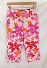 United Colors of Benetton - Orange & Pink FLORAL ramie CAPRI pants, size 38 US 8