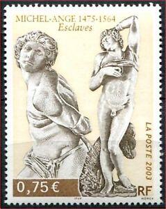 Respectueux 2003 France N°3558** Sculpture, Michel-ange Esclaves, France 2003 Mnh
