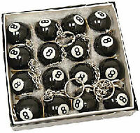 16x Eight 8 Ball Key Chain Keychains Billiards Pool Wholesale Lot 16