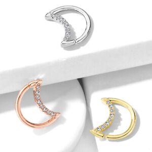 Crescent Moon Sparkle Ear Cartilage Daith Septum Piercing Ring