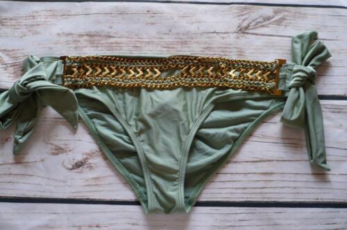 EX Branded Mix & Match Cachi Oro Con Cintura con cordino laterale Hipster Bikini Bottom-K57