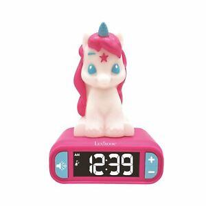 Licorne-Veilleuse-Alarme-Horloge-Enfants-Matin-Snooze-Rose-3D