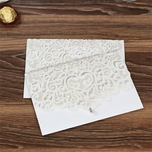 Details About 50pc White Diamond Wedding Invitation Card Personalized Laser Cut Romantic Party