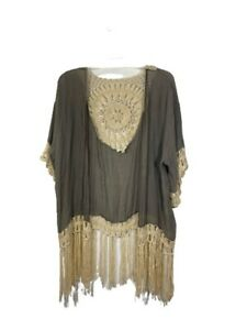 Crochet-Kimono-Boho-Top-Size-Medium-S-M-Kori-Tunic-Open-Front-Gray-Short-Sleeve