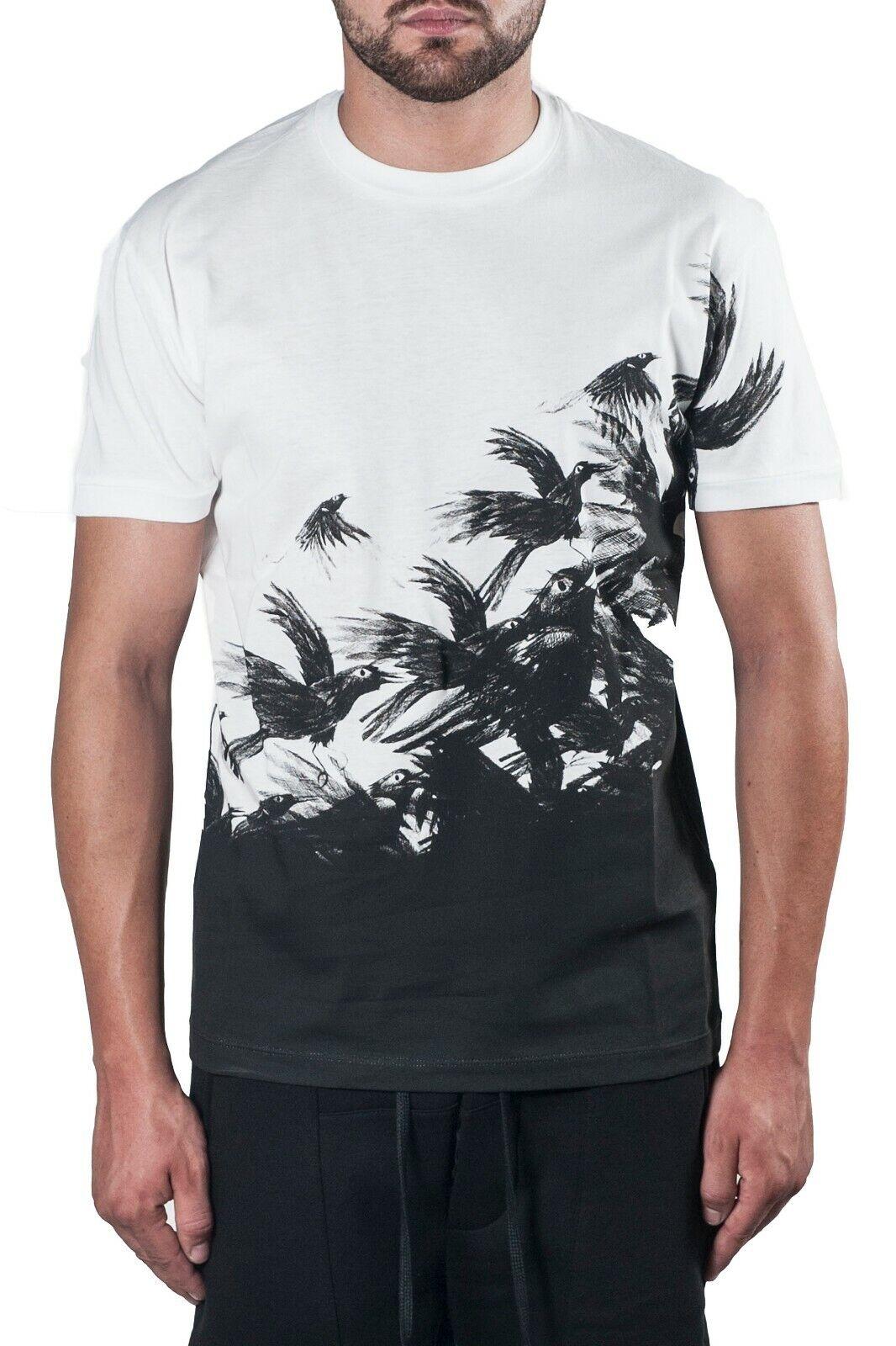 BNWT Dsqaured 2 Stampa Bianco T-shirt T-shirt di grandi dimensioni ITALIANA fatta