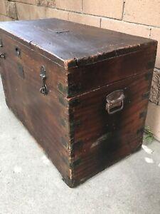Antique Wooden Chest Trunk Original