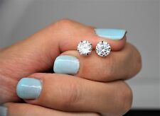 2Ct Round Solitaire Lab Diamond Basket 14K Solid White Gold Push Stud Earrings