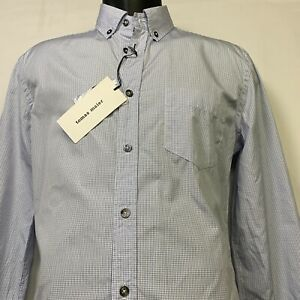 NWT $295 TOMAS MAIER Blue Mini Check Long Sleeve Button Front Shirt Size: Medium