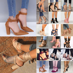 Women-High-Heel-Block-Ankle-Strap-Chunky-Sandals-Party-Dress-Pumps-Shoes-6-10-5