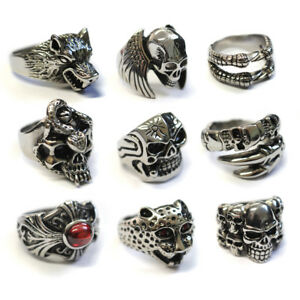 Men-039-s-Stainless-Steel-Big-Skull-Rings-Metal-Gothic-Biker-Punk-Ring-20-styles