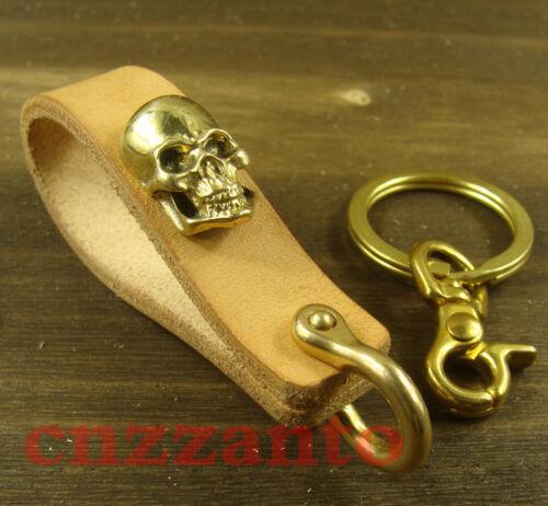 Handmade vegetable tanned leather Brass Shackle Belt key chain ring holder H327