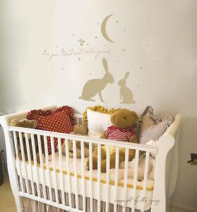 wandtattoo wandaufkleber baby hasen h schen bis zum mond und wieder zur ck m545 ebay. Black Bedroom Furniture Sets. Home Design Ideas