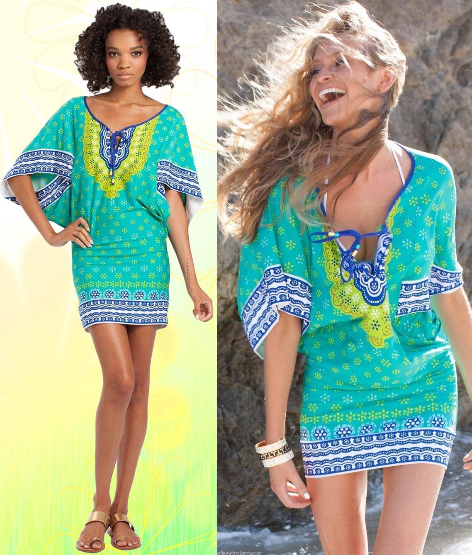 154 Trina Turk Green Seychelles Print Kimono Cover Up Tunic Dress