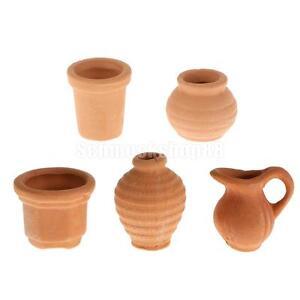 1-12-Ceramic-Kettle-Flower-Pot-Crocks-Dolls-House-Miniature-Garden-Accessory
