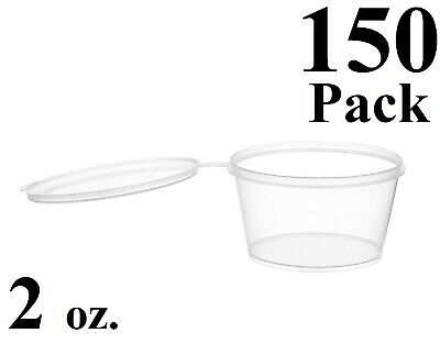 Clear Plastic 2oz Large Jello Jelly Shot Souffle Portion Cups with Lids Option