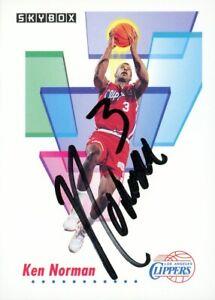 1991-92 Skybox KEN NORMAN Signed Card autograph AUTO CLIPPERS HAWKS BUCKS