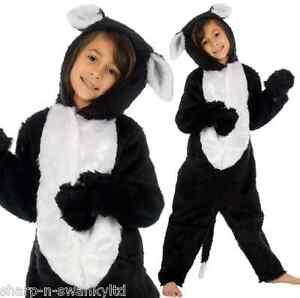 Image is loading Girls-Boys-Kids-Deluxe-Fur-Black-Cat-Animal-  sc 1 st  eBay & Girls Boys Kids Deluxe Fur Black Cat Animal Halloween Fancy Dress ...