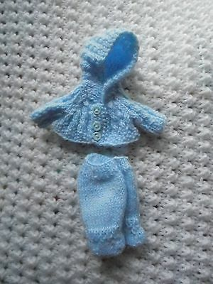 Doll Clothes blue Vintage Style footed Hand Knitted for baby boy bisque  5 in.
