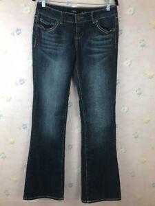Pink-Denim-Jeans-Boot-Cut-Women-s-Size-9-Embellished-Flap-Pockets