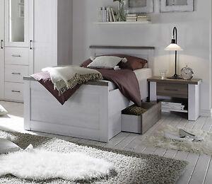 Einzelbett weiß 100x200  Bett Luca, Bettgestell + 1 Schubkasten, Einzelbett, Pinie Weiß ...