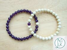 Couple of Amethyst/Fossil Natural Gemstone Bracelets 7-8'' Elasticated Healing