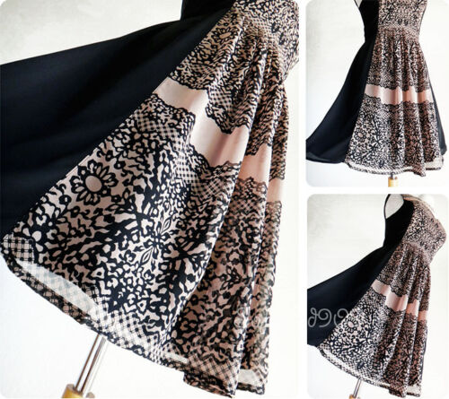 NEW Taupe Black Lace Print Side Panel Contrast Elegant Cocktail Chiffon Dress