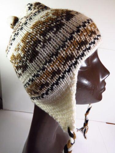 CAPPELLO ALPACA lana a maglia Berretto orecchie sportelli pastori BERRETTO Inka Donna Uomo Inverno