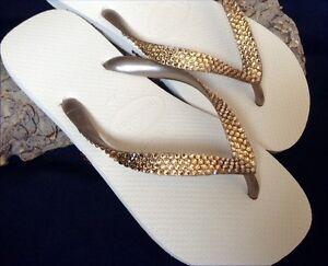 824731645054 Gold Crystal Flip Flop Havaianas Bridal Flat w  Swarovski Rhinestone ...