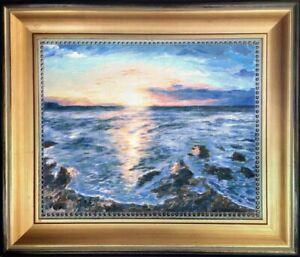 Original-Oil-Painting-Sunrise-on-Rocky-Shore-Kennebunk-Maine-US-Seaside-Fine-Art