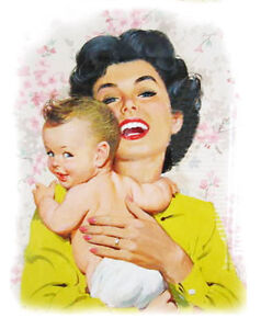 """Waterslide Decals (4pcs 2.5""""x3.5"""") FLONZ 412-0270 Mother w Newborn Baby Vintage"""