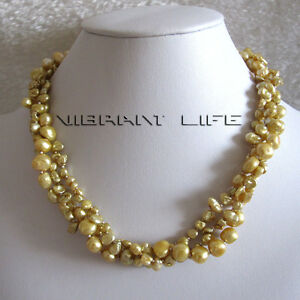 """18"""" 4-9mm 3Row Keshi Baroque Champagne Freshwater Pearl Necklace UE"""