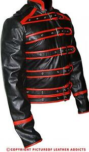 021337b25 Details about Men's Real Black And Red Leather Rockstar Freddie Mercury  Jacket Wembley