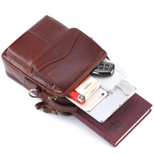 """100/% Genuine Leather Men/'s Sling Shoulder//Messenger Bag Double Zipper 8/"""" Handbag"""