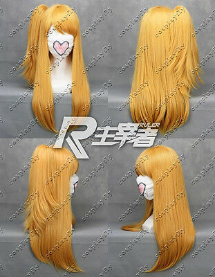 J0011 Fairy Tail Lucy Heartfilia Brown Yellow Cosplay Wig + Wig Cap