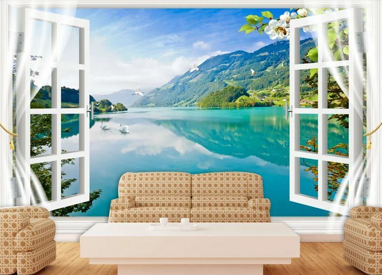 Mega 3D Mountain Lakes Window Wall Paper 291 Print Decal Wall Deco Indoor Mural