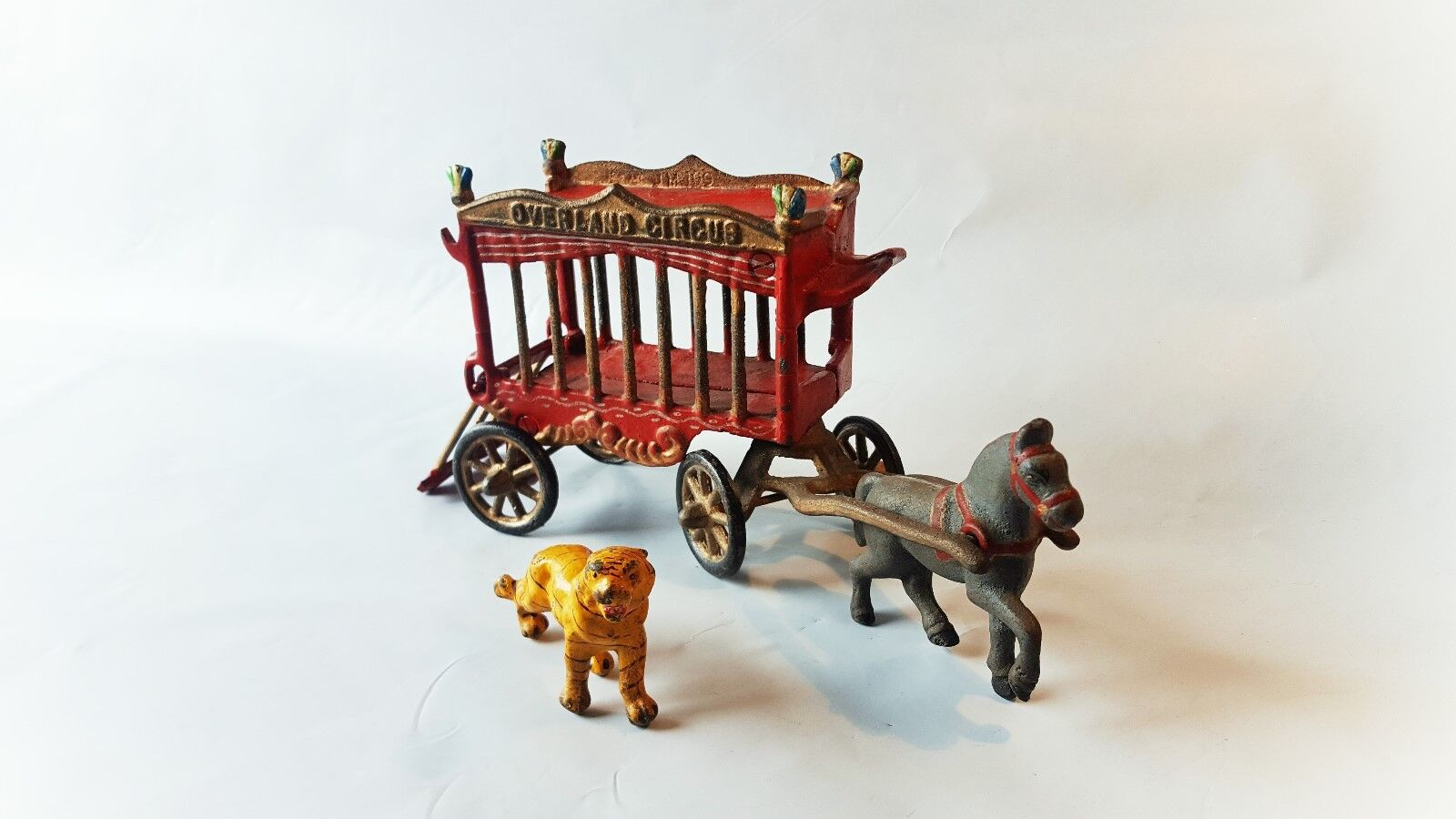 Vintage 1930's Kenton Cast Iron OVERLAND CIRCUS Cage Wagon w Tiger