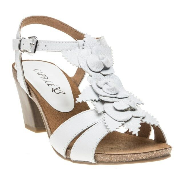 New damen Caprice Weiß 28306 Leather Sandals Mid Heels Buckle