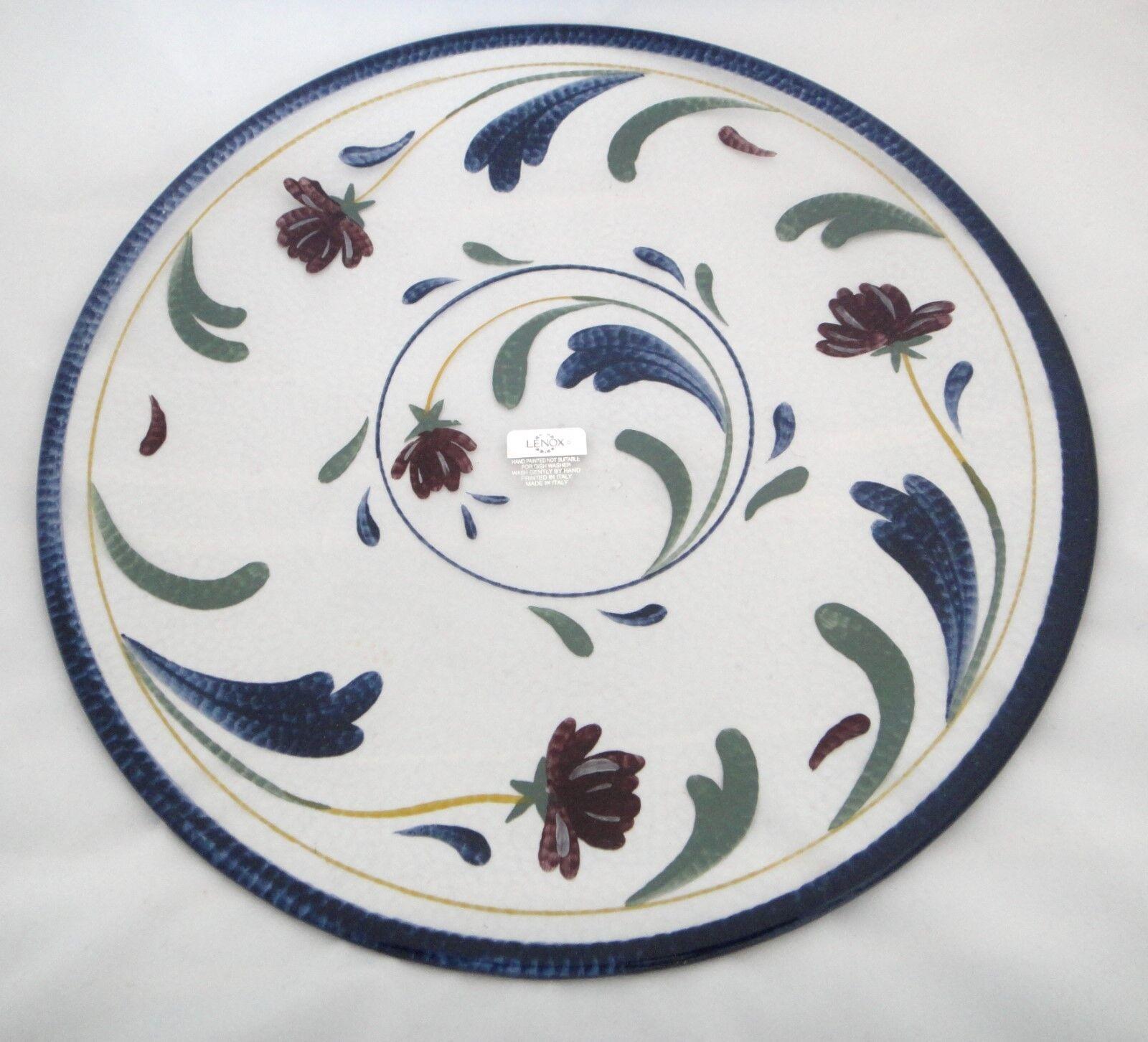 Lenox Décoratif en Verre Ronde Serving Platter-Coquelicots sur motif bleu-Neuf