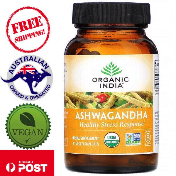 Organic India Organic Ashwagandha 90 Vegan Caps - Safe for Vegans & Vegetarians