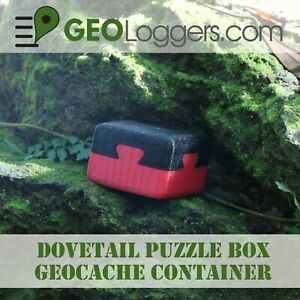 NEW-Double-Dovetail-Puzzle-Box-Geocache-Cache-Container-3-Free-Cache-Logs