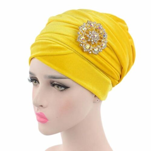 Womens Lady Scarf Luxury Beaded Pearled Velvet Long Head Wrap Turban Hijab Hats