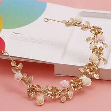 Wedding Bridal Pink Cream Rose Flower Crystal Gold Tiara Headpiece Hair Piece