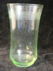 Green-Needle-Etched-Depression-Glass-Tumbler-LAST-ONE