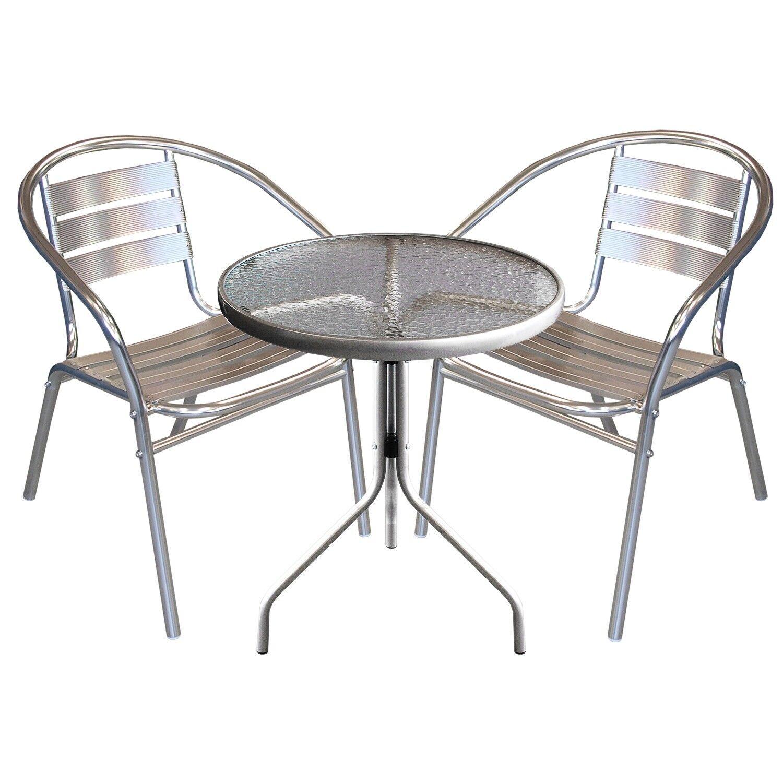 Balkonmöbel Glastisch Bistrogarnitur Set Glastisch Balkonmöbel Ø60x72cm 2x Alu Stapelstühle Silber 415c8d