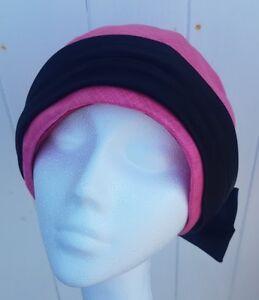 Femmes-Vintage-Rose-Turban-Style-Chapeau-Mitzi-Lorenz-deco-N-ud-Noir-Retro-coiffure