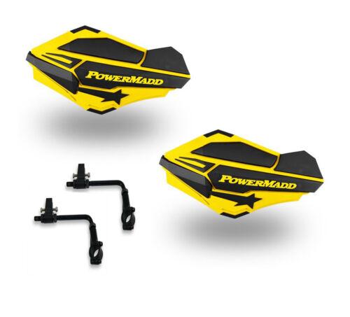 Powermadd Sentinel Handguards Guards Tri Mount Yellow Black Utility ATV Polaris