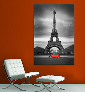 Image is loading Eiffel-Tower-Red-Car-Paris-Black-White-Canvas- & Eiffel Tower Red Car Paris Black White Canvas Print Home Decor Wall ...