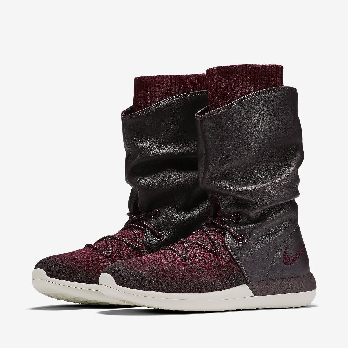 Nike ROSHE 2 Flyknit Calf Boots shoes BURGUNDY RED WHITE 861708 600 Woman Size 7