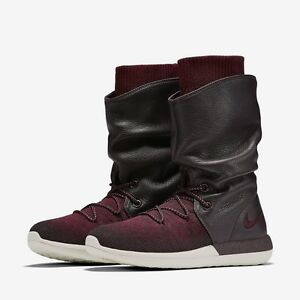 Nike-roshe-2-Flyknit-veau-Bottes-Chaussures-Rouge-Bordeaux-Blanc-861708-600-Femme-Taille-7
